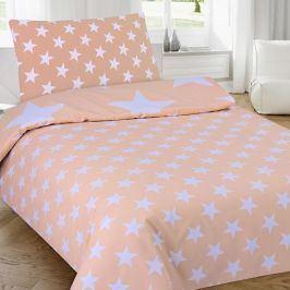 Povlečení Stars lososové 140x200 jednolůžko - standard Bavlna/polyester