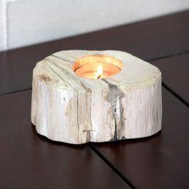 Svícen zkamenělé dřevo světlý 10 x 6 cm béžová