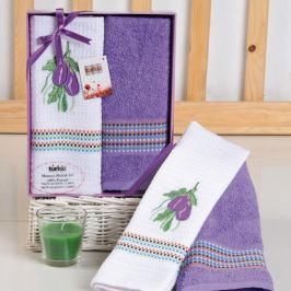 Dárková sada ručníku a utěrky Mimosa lilek 50x70 cm bavlna