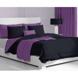 Saténové povlečení Double černo-fialové 140x200 jednolůžko - standard Bavlněný satén