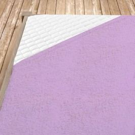 Napínací froté prostěradlo světle fialové Jednolůžko Bavlna - froté