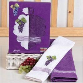 Dárková sada ručníku a utěrky Hrozno 50x70 cm Bavlna