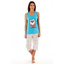 Dámské bavlněné pyžamo Owl Blue  modrobílá