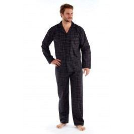 Pánské pyžamo Harvey Black Check Long  černá