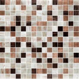Premium Mosaic Crystal mozaika hnědá mix s perletí32,7x32,7 cm MOSJ20MIXBR