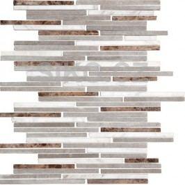 Mozaika kamenná bílo-šedo-hnědé cihly 24,5x30,5 STMOS7140MIX1