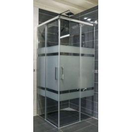 Sprchový kout Siko TEX čtverec 90 cm, sklo proužky, chrom profil, univerzální SIKOTEXQ90CRS