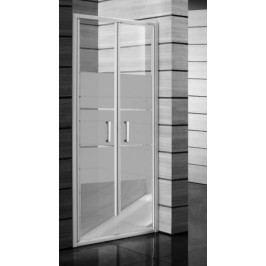 Sprchové dveře Jika Lyra plus dvoukřídlé 90 cm, neprůhledné sklo, bílý profil H2563820006651