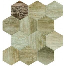 Dlažba Dom Barn Wood beige hexagon 35x37,5 cm, mat, rektifikovaná DBWEM20