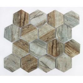 Mozaika sklo hexagon brown26x30 (7,3x8,4 MOSV84HBR