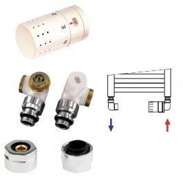 Isan O19BUA-02, bílá, designový termostatický set úhlový - triaxiální pro Al/PE-X, Al/PERT trubky