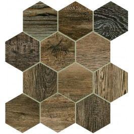 Dlažba Dom Barn Wood brown hexagon 35x37,5 cm, mat, rektifikovaná DBWEM60