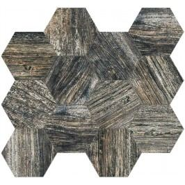 Mozaika Fineza Timber Design pepper hexagon 31,5x36,5 cm, mat, rektifikovaná TIMDEMOSESPE