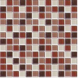 Premium Mosaic skleněná mozaika mix hnědá 30,5x30,5 cm MOS25MIX6