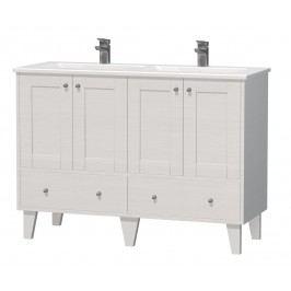 Skříňka s dvojumyvadlem Naturel Provence 120 cm, bílá PROVENCE120BT