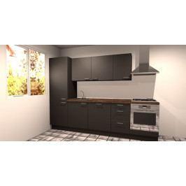 Kuchyňská linka 285 cm, šedá, deska dub trámový
