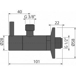 AlcaPlast rohový ventil,filtr,černá mat